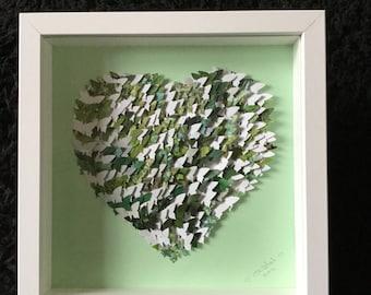 3D BUTTERFLY HEART ART Handmade Botanical Green & White Butterflies