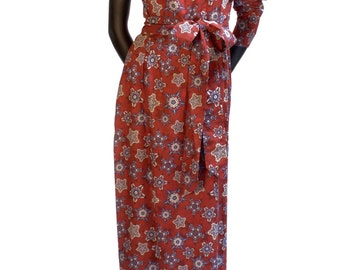 Floral Print Full Length Dress (with belt) - 16-014