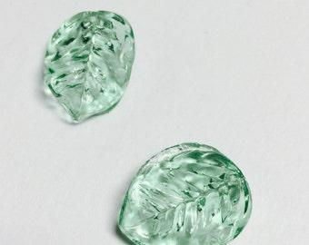 Vintage Pressed German Glass Leaves Light Green - 4 Pieces - #291