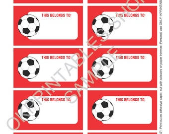 Printable Soccer - Futbol labels for School supplies Labels printable - Set of 10- printable labels - school sticker