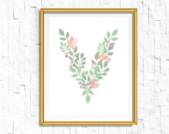 Instant Download Personalized Name Nursery Printable Monogram Art Print | Custom Nursery Printable Monogram Floral Letter V | FA-749 V-128P