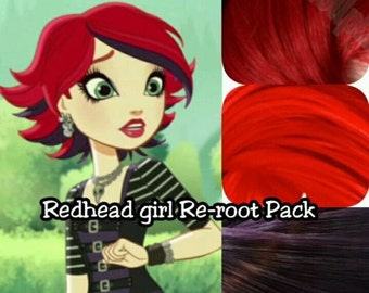 Ever After High Redhead Goth Girl Background Character Doll Re-root Pack Nylon Hair Kit for creating your own OOAK Custom Doll