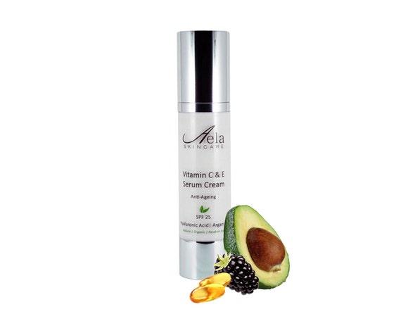 Vitamin C & E Serum Cream with Hyaluronic Acid, Organic Argan Oil, Anti Wrinkle, Anti Ageing, Paraben Free, SPF 25, 50ml