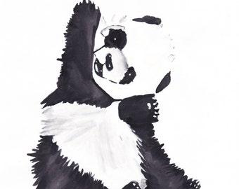 Panda Bear Painting, Wall Art, Print, Acrylic
