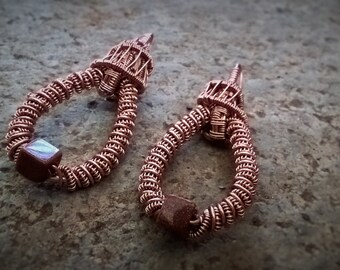 Wire wrapped earrings Sand Stone