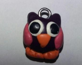 Polymer clay owl charm