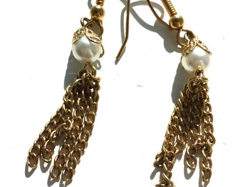 Vintage, elegant,limited,dangle,delicate,gold,faux pearl earings