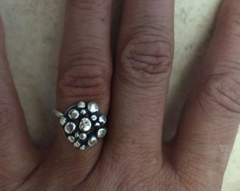 "Sterling Silver ""Bubble"" Ring - Size 7.5"