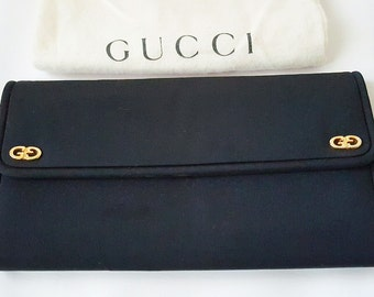 Gucci Black Satin Clutch Bag