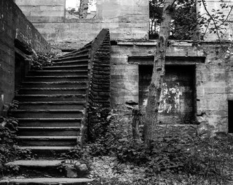 Overlook Staircase, Fine Art Photography Print, Building Ruins