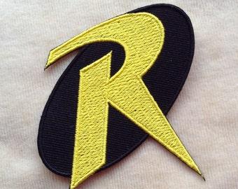 Robin Super Hero Logo Iron On Patch #Black Background