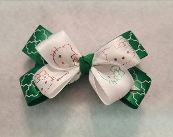 Kitty Hairbow, Red and green hairbow, Hello Kitty Hairbow, Damask hairbow, Toddler Hairbow, Girls hairbows, Everyday hairbows, Damask print
