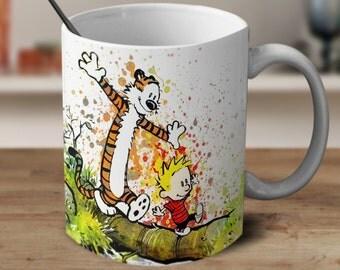 Calvin and Hobbes Mug, Calvin and Hobbes Art,Cartoon mug, Anime Coffee Mug, Color Changing Mug