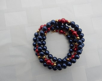 Elegant Americana Red and Navy Pearls