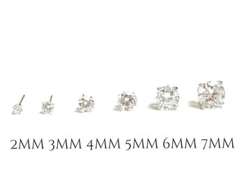 FLASH SALE** 6 Pairs Sterling Silver Cubic Zirconia Stud Earrings | Earrings Gift Set | 2mm, 3mm, 4mm, 5mm, 6mm & 7mm | Gift for Her