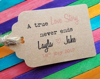 A True Love Story - Personalised Wedding Favour Tags