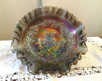Imperial carnival glass, electric purple, windmill ruffled bowl