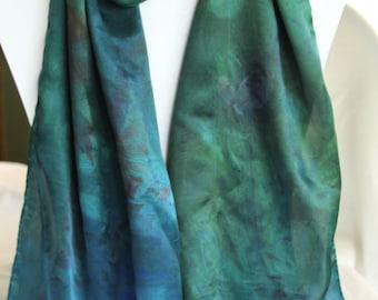 Deep Forest Green Satin Silk Scarf