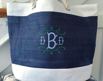 Monogrammed Woven Bag