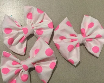 Pink Spots Hair Bow