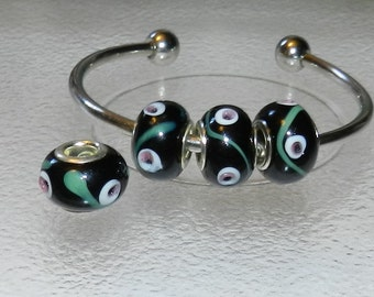 Black  European Beads lampwork beads big hole beads 4pcs V5010