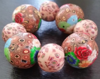 8 big polymer clay beads mix floral Handmade flowers stone look