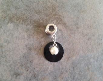 Pearl & Black Hoop Charm