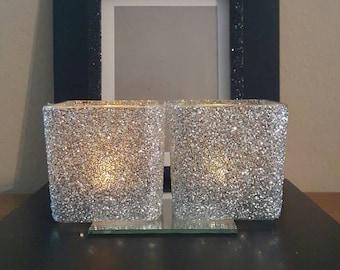 Silver Glittered Candle Holders (2), Flower Vase, Makeup Brush Holder.