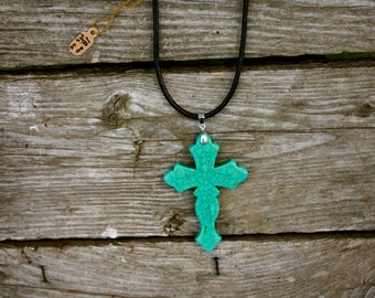 turquoise colored cross pendant necklace