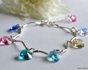 Swarovski hearts bracelet 925 sterling silver