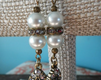 """Earrings, Antique Finish, 2"""" Long, Crystals, Pearls"""