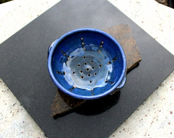 SOLD OUT! Blue Bowl, Ceramic Berry Bowl, Pottery Berry Bowl, Ceramic Colander, Ceramic Berry Bowl in Handmade, Pottery Colander, Ceramic Ber