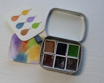 Travel / portable watercolour kit. Artists travel tin. Earth colours