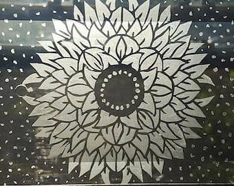 Lovely Mandala Etched on Glass