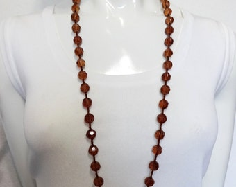 Vintage COGNAC-AMBER GLASS Faceted Beaded Necklace~