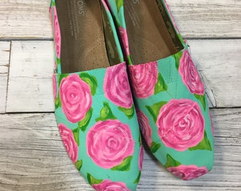 Lily Pulitzer Roses Painted TOMS
