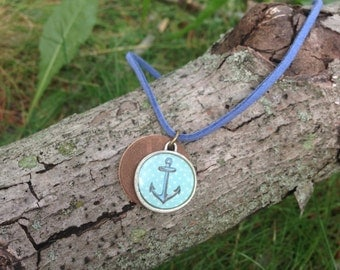 Blue Anchor Necklace