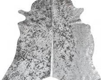 Silver metallic cow hide rug