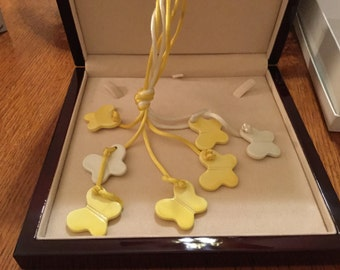 Yellow and White ceramic butterfly necklace