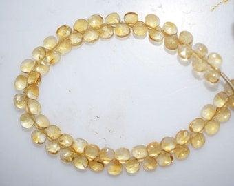 """1 Strand Citrine Faceted Heart Shape Beads-Citrine Heart Shape Briolette, 5 x 5 mm, 7"""", BL318"""