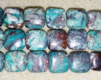 Chrysocolla beads square stone beads square beads focal beads blue focal beads brown beads blue beads blue stone beads 10mm square beads