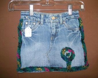 Child denim skirt/shorts Levi's size 4T chenille trim