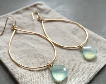 14k Gold Fill Hammered Hoop Earrings+Faceted Chalcedony Drops 2""