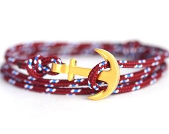 Anchor bracelet wine / gold