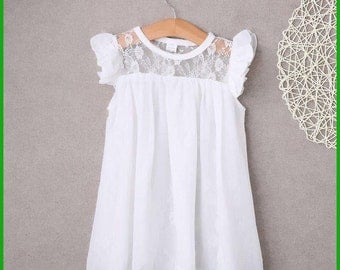 Lacey Dress w/ Ruffled Cap Sleeves