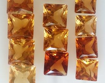Natural AAA Citrine Square Gemstones, 11 pc box.
