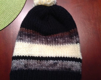 Stripped black white and gray hat