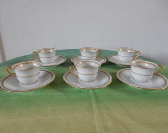 6 small cups and saucers Limoges French the Pose Unique