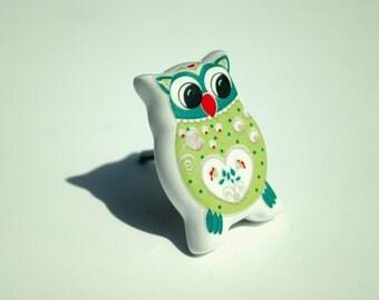 Owl Cabinet Knobs Ceramic Drawer Pulls Children's Furniture Nursery - Pink, Green and Teal