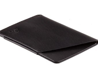 Ultra slim leather card holder / minimalist wallet - A-SLIM - Sapphire Black - Ninja - Card case - Card wallet - Front Pocket Wallet - Micro